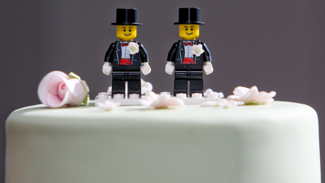 WELLINGTON, NEW ZEALAND - AUGUST 19:  Two Lego men decorate the top of Paul McCarthy and Trent Kandler's wedding cake prior to the reception at Martin Bosley's on August 19, 2013 in Wellington, New Zealand. Australian gay couple Paul McCarthy and Trent Kandler were flown to Wellington by Tourism New Zealand in a promotion to highlight to Australians that same-sex marriage is legal in New Zealand.  (Photo by Hagen Hopkins/Getty Images)